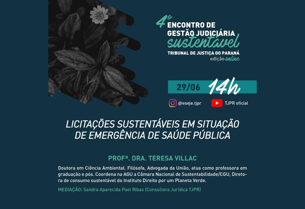 """Palestra """"Licitações sustentáveis em situação de emergência de saúde pública"""" será realizada na segunda-feira (29/6)"""