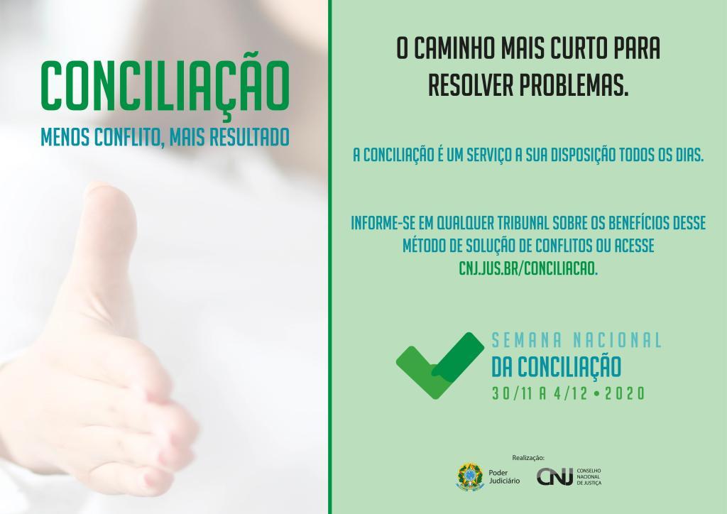 Semana Nacional da Conciliação será realizada entre os dias 30/11 e 04/12